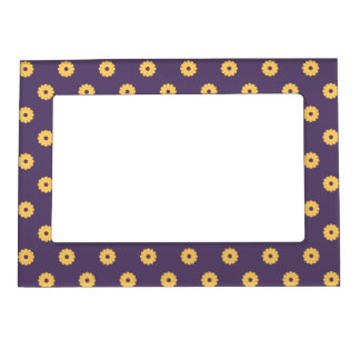 Simple Vector Daisy Flowers in Yellow & Purple Magnetic Picture Frame