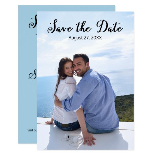 Simple Vertical Photo Elegant Script-3x5 Save/Date Card
