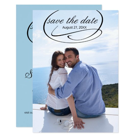 Simple Vertical Photo Swashes - 3x5 Save the Date Card