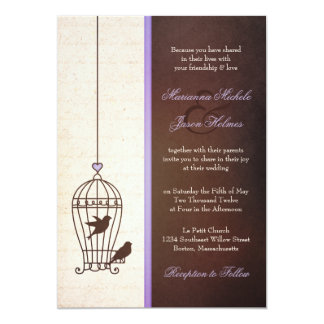 Simple Vintage Bird Cage | Lavender Brown Wedding 13 Cm X 18 Cm Invitation Card