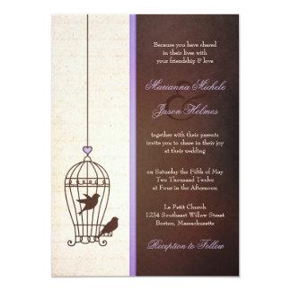 Simple Vintage Bird Cage | Lavender Brown Wedding Card
