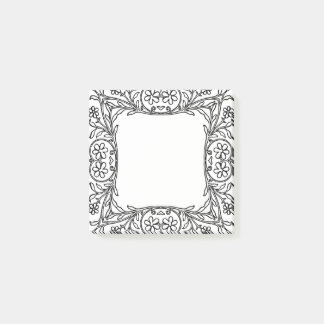 Simple Vintage Floral frame design Post-it notes