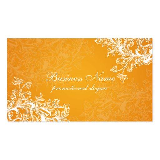 Simple Vintage Scroll Orange Business Card Template