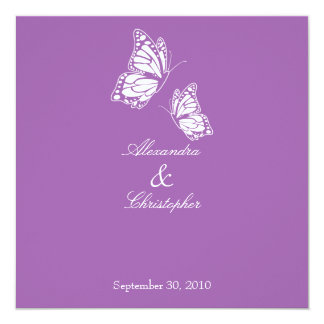 Simple Violet Butterflies Wedding Announcement