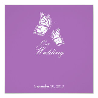 Simple Violet Butterflies Wedding Announcement 2