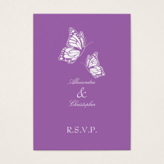 Simple Violet Butterfly RSVP Note Mini Business Card