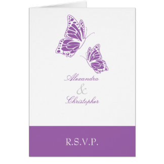 Simple Violet Butterfly RSVP Note Note Card