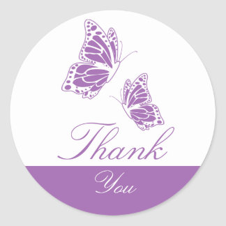 Simple Violet Butterfly Thank You Round Sticker