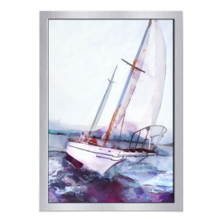 Simple watercolor and ink of Leaning Sailboat 13 Cm X 18 Cm Invitation Card
