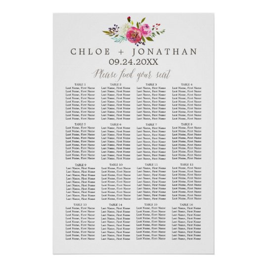 Simple Watercolor Bouquet Wedding Seating Chart Poster