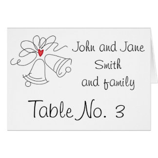 Simple wedding bells custom table number cards