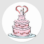 Simple Wedding Cake Round Sticker