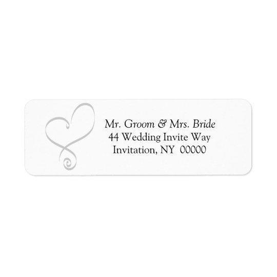 Simple Wedding Heart Invite Return Address Labels