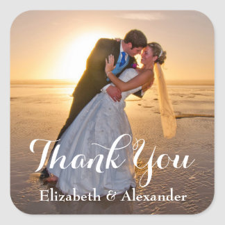 Simple Wedding Photo Thank You sticker