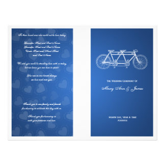 Simple Wedding Program Tandem Bike Blue Flyer