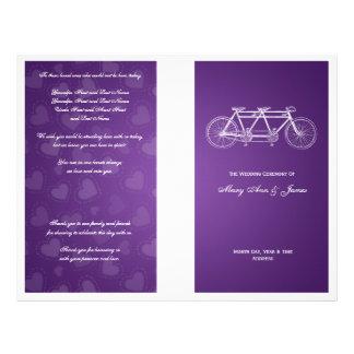 Simple Wedding Program Tandem Bike Purple 21.5 Cm X 28 Cm Flyer