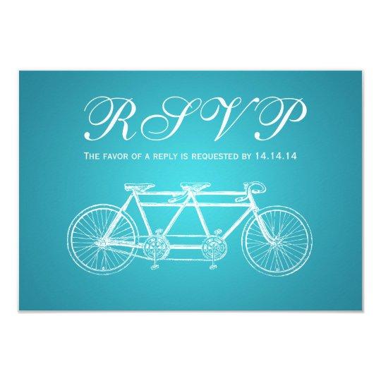 Simple Wedding RSVP Tandem Bike Turquoise Card