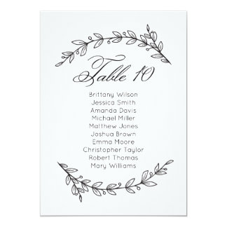 Simple wedding seating chart floral. Table plan 10 Card