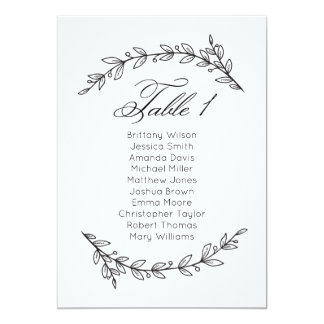 Simple wedding seating chart floral. Table plan 1 Card