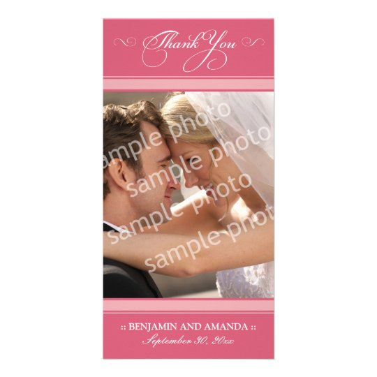 Simple Wedding Thank You Photocard (rose) Personalized Photo Card