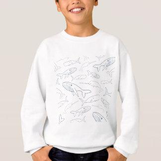 Simple Whale Parade Pattern Sweatshirt