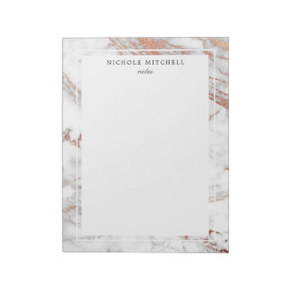 Simple White and Gold Marble Notepad