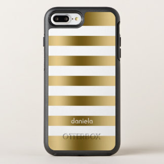 Simple White And Gold Stripes OtterBox Symmetry iPhone 8 Plus/7 Plus Case