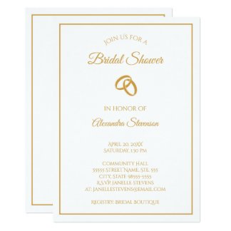 Simple White and Gold Wedding Rings Bridal Shower Card