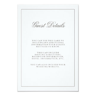 Simple White and Gray Wedding Guest Information Card