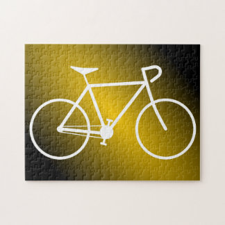 Simple White Bicycle Silhouette Puzzle