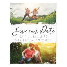 Simple White Brush Stroke Save the Date Photo