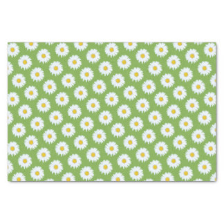 """Simple White Daisy on Green Pattern 10"""" X 15"""" Tissue Paper"""