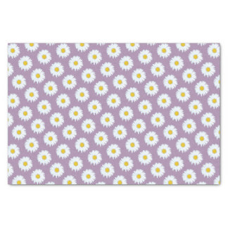 Simple White Daisy on Purple Pattern Tissue Paper