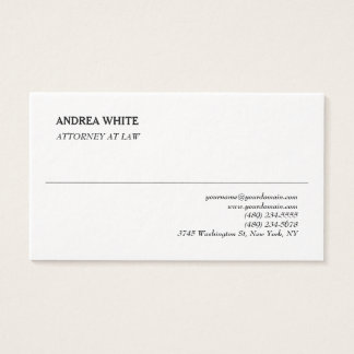 Simple White Elegant Plain Professional Minimalist Business Card