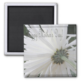 Simple White/ Happy Mother's Day! Square Magnet
