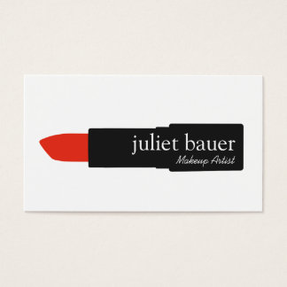 Simple White Makeup Artist Lipstick Logo Beauty Business Card