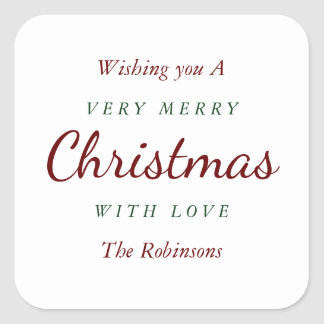 Simple white Merry Christmas gift sticker