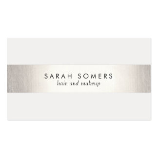 Simple White  Modern FAUX Silver Striped Double-Sided Standard Business Cards (Pack Of 100)