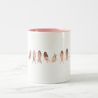 Simple White Mug with Copper Birds On Wire Art