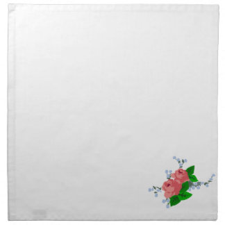 Simple White Napkin with Rose Decoration