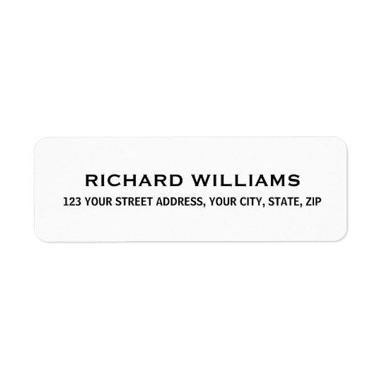 Simple white return address