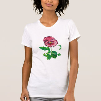 Simple white t-shirt with flower watercolours