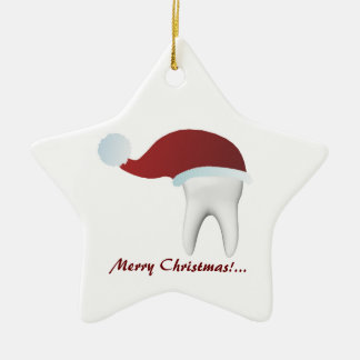 Simple White Tooth With A Red Hat Christmas Decor Ceramic Star Decoration