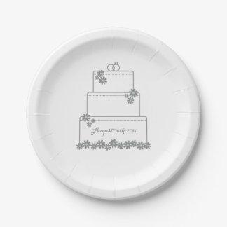 Simple White Wedding Cake Dessert Plate 7 Inch Paper Plate