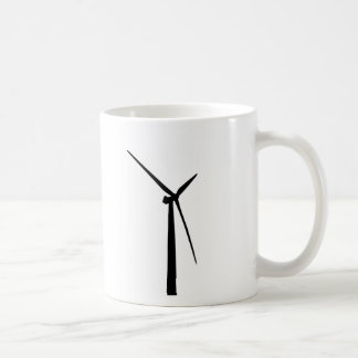 Simple wind turbine green energy silhouette basic white mug