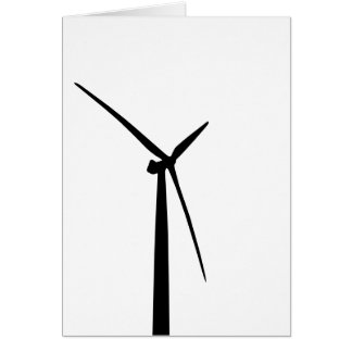 Simple wind turbine green energy silhouette greeting card