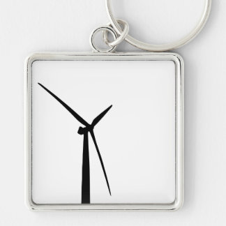 Simple wind turbine green energy silhouette Silver-Colored square key ring