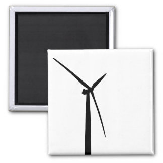 Simple wind turbine green energy silhouette square magnet