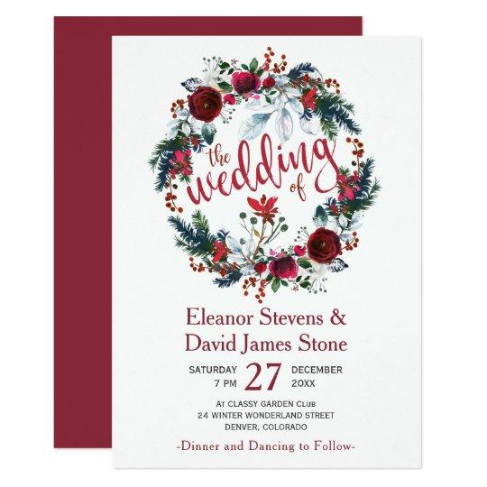 Simple winter burgundy floral wreath wedding card