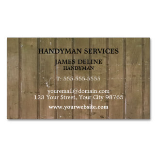 Simple Wooden Plank Handyman Magnetic Magnetic Business Cards